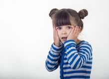Portrait of little girl holding hands on head, screaming with opened mouth and crazy expression. Surprised or shocked face royalty free stock image