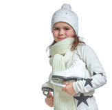 Portrait of a little girl holding ice skates Stock Photography