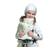Portrait of a little girl holding ice skates Royalty Free Stock Images