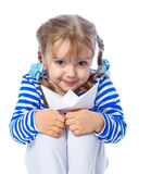 Portrait of a little girl holding a paper boat on a white backgr Stock Photography