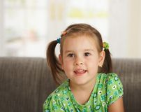 Portrait of little girl at home Stock Photo