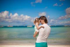 Portrait of a little girl hugging with dad on the Royalty Free Stock Photos