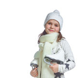 Portrait of a little girl keep ice skates, isolate Stock Photography