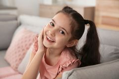 Portrait of little girl laughing royalty free stock images