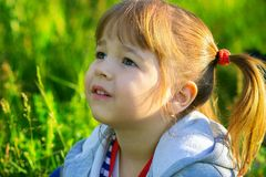 Portrait of the little girl. The little girl looks up, a portrait Royalty Free Stock Photography
