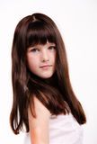 Portrait of little girl with luxuriant long hair stock image
