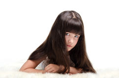 Portrait of little girl with luxuriant long hair Stock Photography