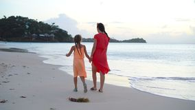 Portrait of little girl and mother on summer vacation stock video footage