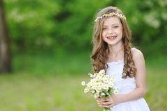 Portrait of little girl outdoors stock photography
