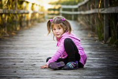 Portrait of a little girl in the park Stock Images