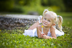 Portrait of a little girl in the park Royalty Free Stock Image