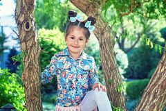 Funny little girl in the Park. Portrait of a little girl in the Park Royalty Free Stock Image