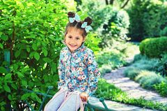 Funny little girl in the Park. Portrait of a little girl in the Park Stock Photography