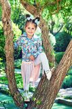 Funny little girl in the Park. Portrait of a little girl in the Park Stock Photo