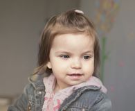 Portrait of a little girl in pink and blue Stock Photo