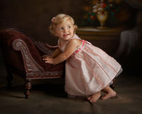 portrait of little girl in pink dress Royalty Free Stock Photos