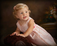portrait of little girl in pink dress Royalty Free Stock Images