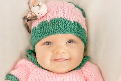 Portrait of a little girl in a pink hat. Toned image Royalty Free Stock Photo