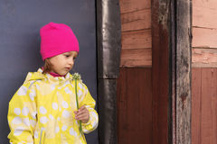 Portrait of a little girl with a plant. Portrait of a little sadgirl in a yellow raincoat and a pink hat with a plant in her hand. She is standing in frount of a Stock Image