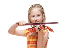 Portrait of a Little Girl Playing Toy Violin Royalty Free Stock Image
