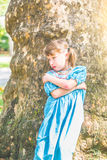 Portrait of a little girl with pouty face Royalty Free Stock Image