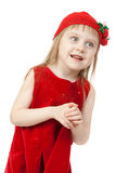 Portrait of a little girl in red dress Royalty Free Stock Photos
