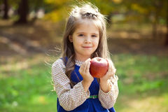 Portrait of a little girl with red large apple Royalty Free Stock Photos