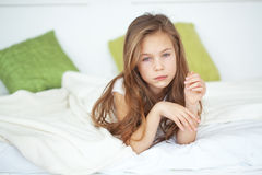 Girl in the bed Royalty Free Stock Photo