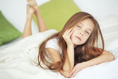 Girl in the bed Royalty Free Stock Images