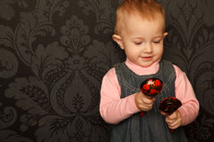 Portrait of little girl with Russian traditional s Royalty Free Stock Photos
