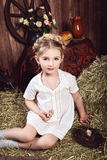 Portrait of little girl in rustic style Stock Photos