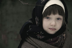 Portrait of a little girl in a rustic style Stock Image