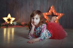 Portrait of little girl  scene star royalty free stock photo