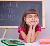 Portrait of a little girl in school Royalty Free Stock Photo