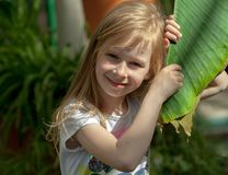 Portrait, little girl of seven years, holds large leaf of palm tree royalty free stock photo