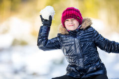 Portrait of a little girl in the snow. Winter joy of a child of a lot of snow Stock Images