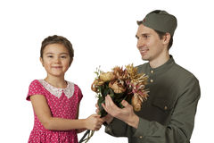 Portrait of a  little girl and Soviet soldier Stock Photography