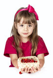 Portrait of the little girl and strawberry Royalty Free Stock Images