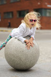 Portrait of a little girl in sunglasses. Royalty Free Stock Image