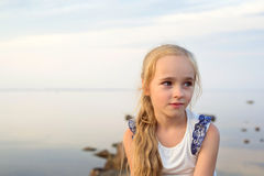 Portrait of little girl on sunset Stock Photography