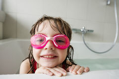 Portrait of a little girl with swim glasses Royalty Free Stock Photo