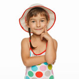 Portrait of little girl in swimsuit and hat Stock Photography