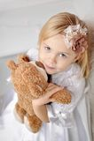 Portrait of little girl and Teddy Royalty Free Stock Photography