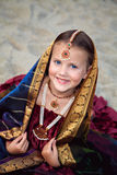 Portrait of little girl in traditional indian sari Stock Image