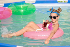 Portrait of little girl in tropical style Royalty Free Stock Image