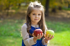 Portrait of a little girl with two large apples Royalty Free Stock Images