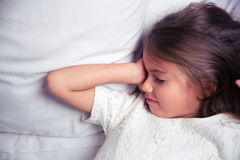 Portrait of a little girl waking up Royalty Free Stock Photos