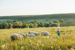 Portrait of a little girl walking in the field Stock Image