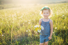 Portrait of a little girl walking in the field Stock Photography