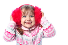 Portrait of a little girl in warm clothes, cold, winter, health Stock Photos